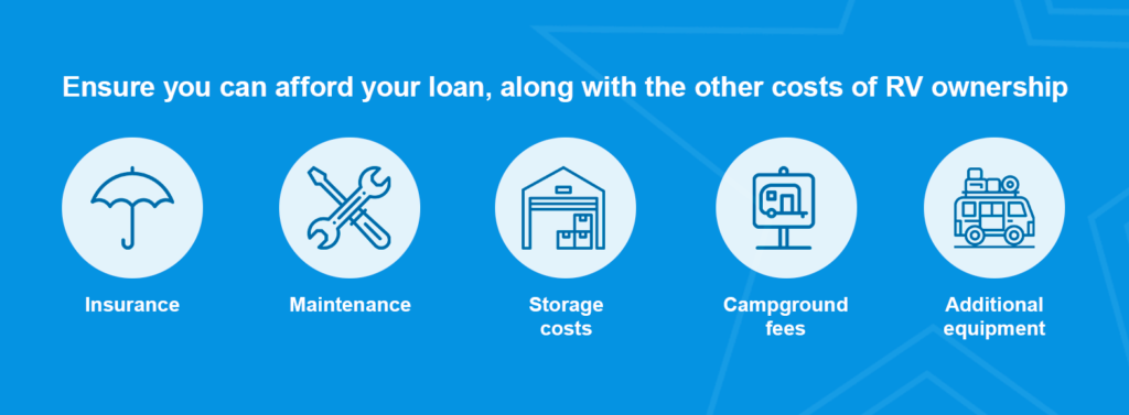 Ensure you can afford your loan, along with the other costs of RV ownership.